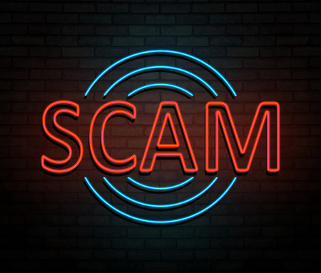 3d Illustration depicting an illuminated neon sign with a scam concept.