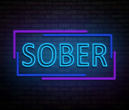 3d Illustration depicting an illuminated neon sign with a sober concept.