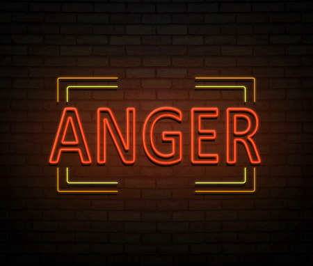 3d Illustration depicting an illuminated neon sign with an anger concept. Stock Photo