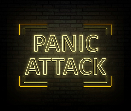 3d Illustration depicting an illuminated neon sign with a panic attack concept.