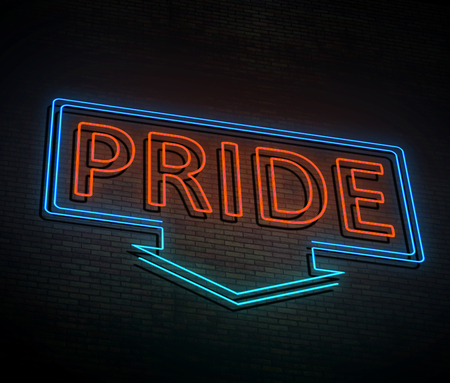 3d Illustration depicting an illuminated neon sign with a pride concept.