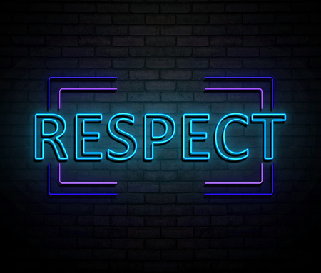 3d Illustration depicting an illuminated neon sign with a respect concept.