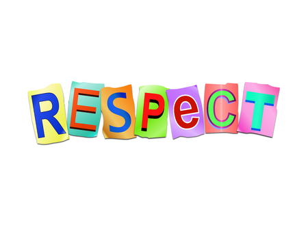 3d Illustration depicting a set of cut out printed letters arranged to form the word respect.