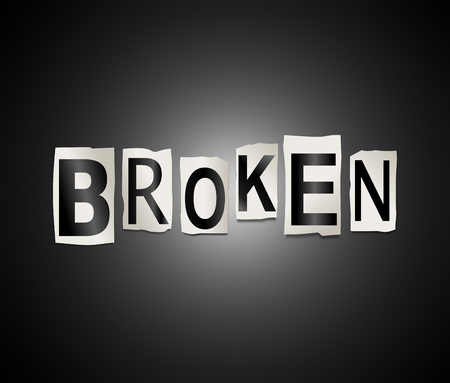 3d Illustration depicting a set of cut out printed letters arranged to form the word broken.
