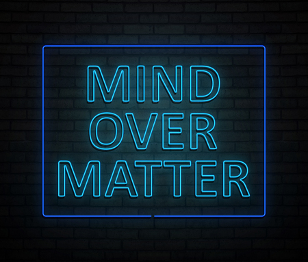 3d Illustration depicting an illuminated neon sign with a mind over matter concept.