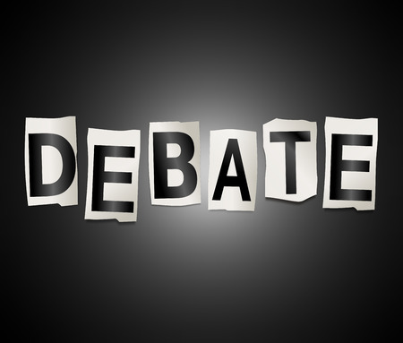 3d Illustration depicting a set of cut out printed letters arranged to form the word debate. Stock Illustration - 88562551