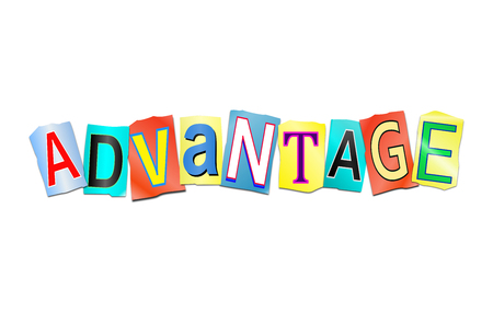 3d Illustration depicting a set of cut out printed letters arranged to form the word advantage. Stock Photo