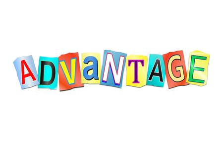 単語の利点を形成するために配置された切り取った印刷文字のセットを描いた3d イラスト。