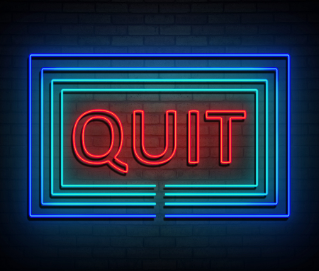 3d Illustration depicting an illuminated neon sign with a quit concept.