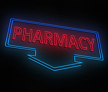 3d Illustration depicting an illuminated red and blue neon pharmacy sign.