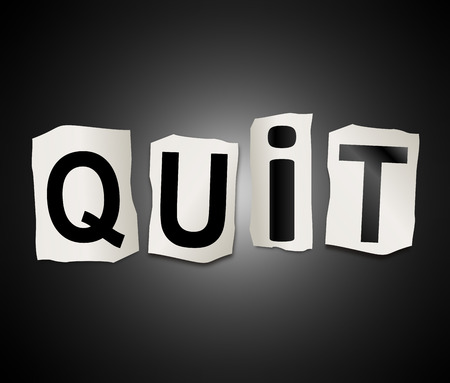 3d Illustration depicting a set of cut out printed letters arranged to form the word quit. Imagens