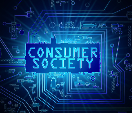3d iillustration depicting abstract printed circuit board components with a consumer society concept. Stock Photo