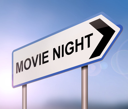 3d Illustration depicting a sign with a movie night concept. Stock Photo