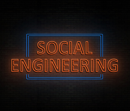 3d Illustration depicting an illuminated neon sign with a social engineering concept.