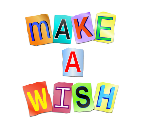 3d Illustration depicting a set of cut out printed letters arranged to form the words make a wish.