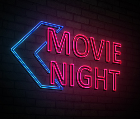 3d Illustration depicting an illuminated neon sign with a movie night concept. Stock Photo