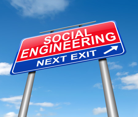 Illustration depicting a sign with a social engineering concept.