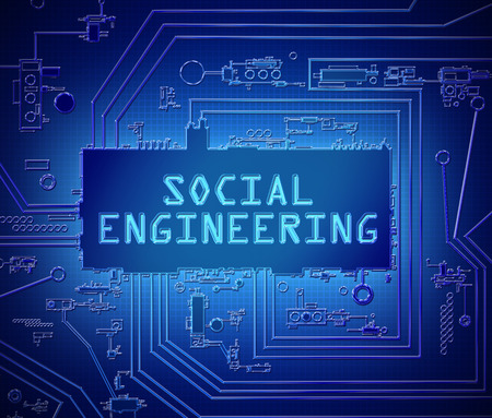 3d Illustration depicting printed circuit board components with a social engineering concept. Stock Photo