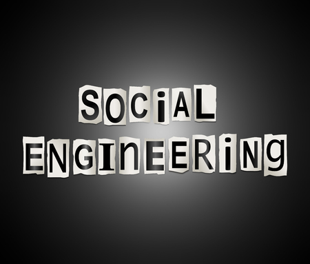 Illustration depicting a set of cut out printed letters arranged to form the words social engineering.