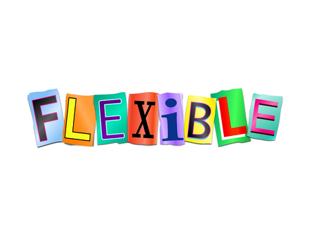3d Illustration depicting a set of cut out printed letters arranged to form the word flexible.