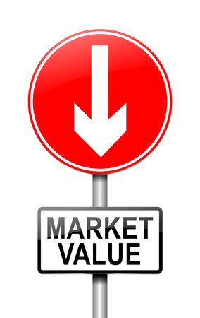 Illustration depicting a sign with a market value concept. Stock Photo