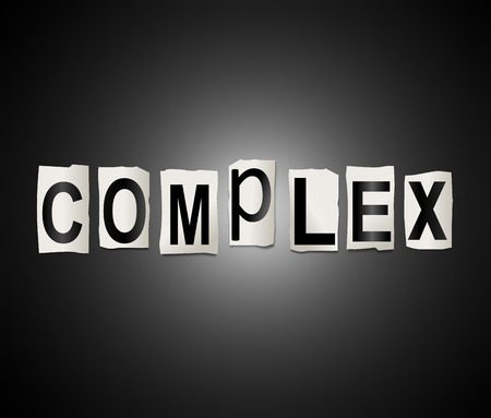 Illustration depicting a set of cut out printed letters arranged to form the word complex.