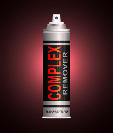 Illustration depicting an aerosol spray can with a complex remover concept. Stock Photo