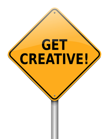 3s Illustration depicting a sign with a get creative concept.