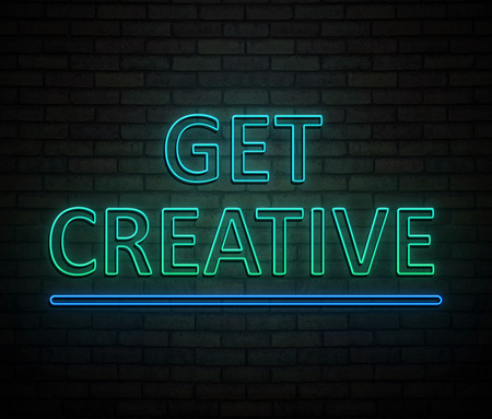 3d Illustration depicting an illuminated neon sign with a get creative message concept. 스톡 콘텐츠