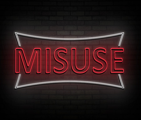 3d Illustration depicting an illuminated neon sign with a misuse concept. Stockfoto