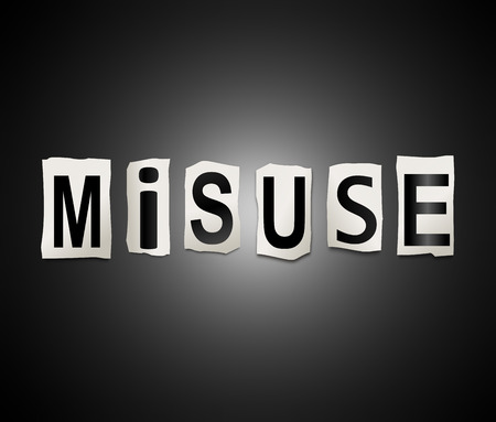 3d Illustration depicting a set of cut out printed letters arranged to form the word misuse.