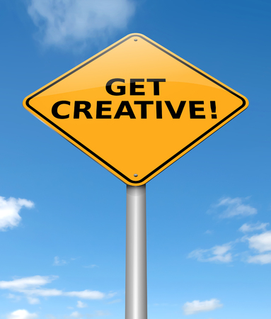 3s Illustration depicting a sign with a get creative concept. Stock Illustration - 93878162