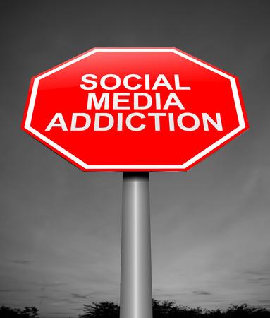 3d Illustration depicting a sign with a social media addiction concept.