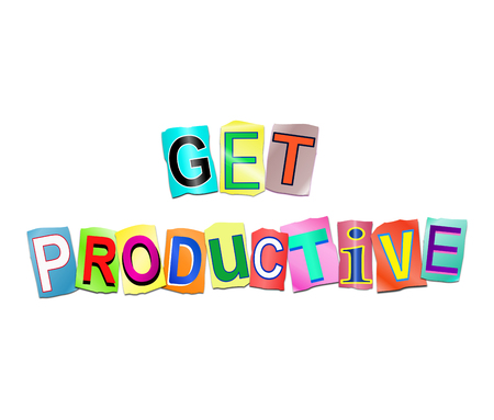 3d Illustration depicting a set of cut out printed letters arranged to form the words get productive. Stock Photo