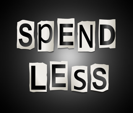 3d Illustration depicting a set of cut out printed letters arranged to form the words spend less.