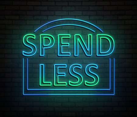 3d Illustration depicting an illuminated neon sign with a spend less concept.