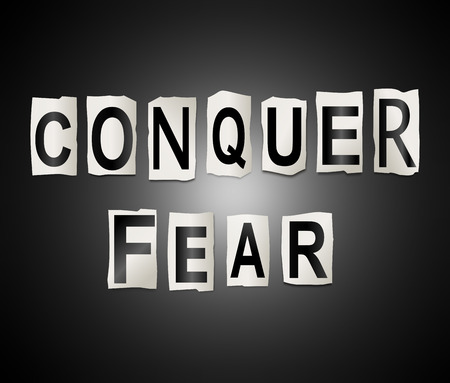 3d Illustration depicting a set of cut out printed letters arranged to form the words conquer fear.