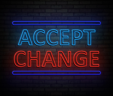 3d Illustration depicting an illuminated neon sign with an accept change concept.