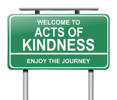 3d Illustration depicting a sign with an acts of kindness message concept.
