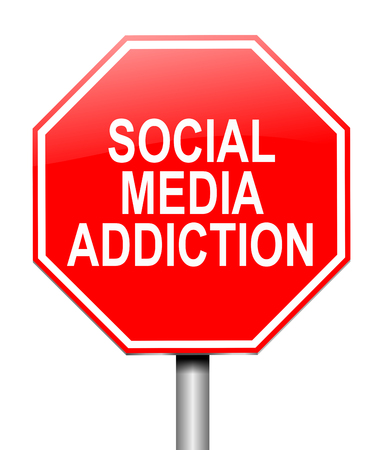 3d Illustration depicting a sign with a social media addiction concept.