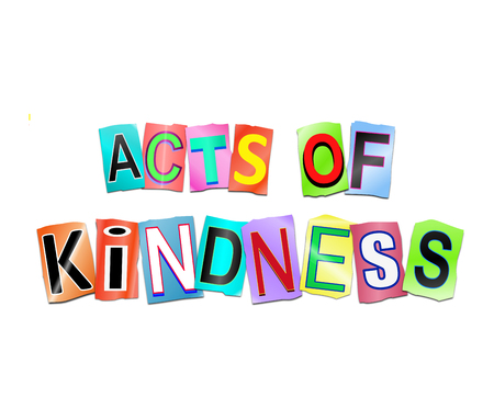 3d Illustration depicting a set of cut out printed letters arranged to form the words acts of kindness.