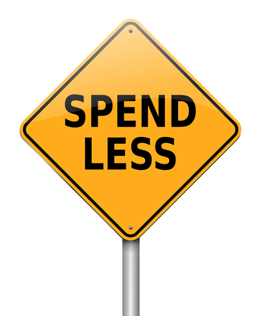 3d Illustration depicting a sign with a spend less concept.
