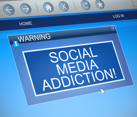3d Illustration depicting a computer warning dialog box with a social media addiction concept.