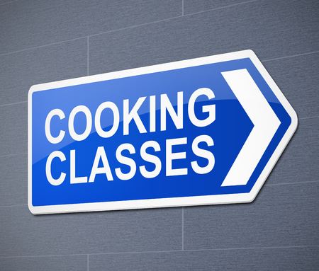 3d Illustration depicting a sign with a cooking class concept. Banque d'images