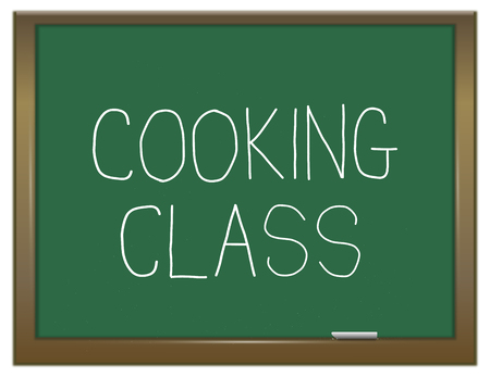 3d Illustration depicting a green chalkboard with a cooking class concept.