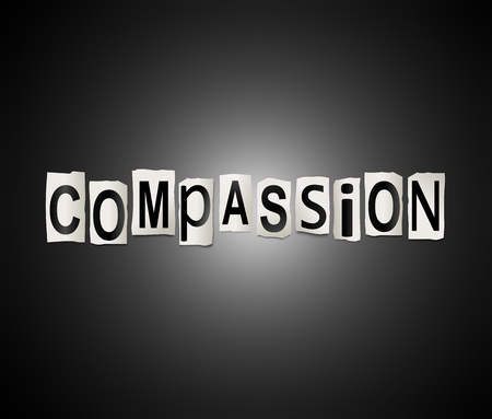 3d Illustration depicting a set of cut out printed letters arranged to form the word compassion.