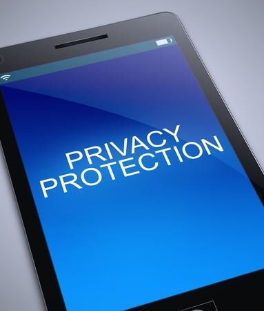 3d 개인 정보 보호 개념 전화를 묘사 한 그림.