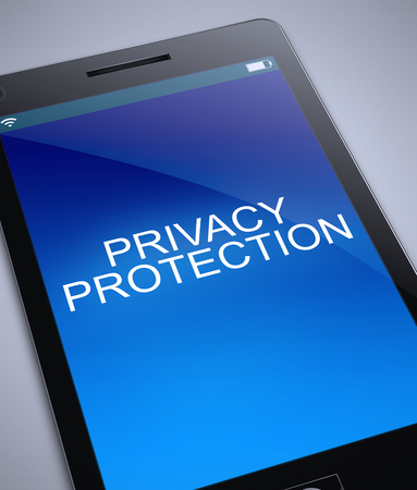 3d Illustration depicting a phone with a privacy protection concept. Stock Photo