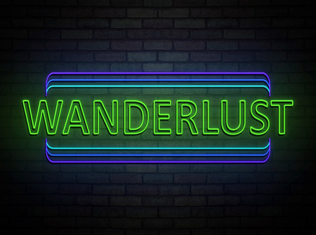 3d Illustration depicting an illuminated neon sign with a wanderlust concept. Фото со стока