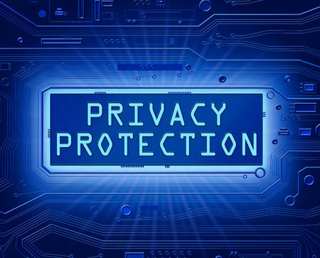 개인 정보 보호 개념 인쇄 회로 기판 구성 요소를 묘사 한 3d 추상 스타일 일러스트.